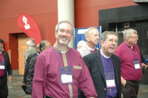Here is Bishop Alan Gates, with Bishop George Councell, on their way to St. Mark's for the election.