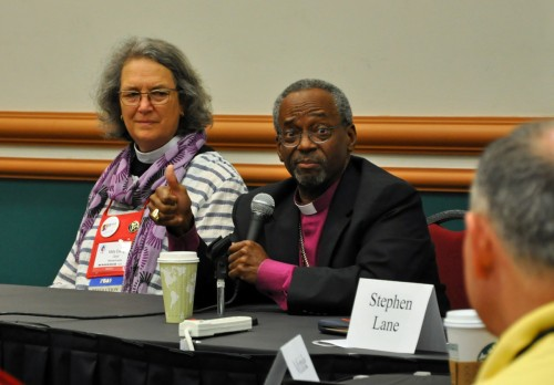 Mally Lloyd chairs the PB&F meeting with Presiding Bishop-elect Michael Curry this morning.