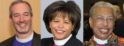 From left: Bishop Alan M. Gates, Bishop Gayle Harris, Bishop Barbara Harris
