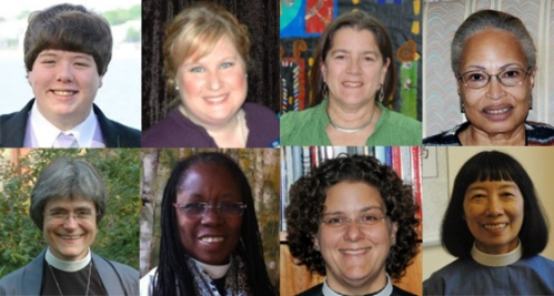 Top (from left): Billy Boyce, Julie Shea, Betsy Ridge Madsen, Michele Griffin-MacGregor; Bottom (from left): The Rev. Holly Antolini, The Rev. Karen Montagno, The Rev. Julie Carson, The Rev. Connie Ng Lam