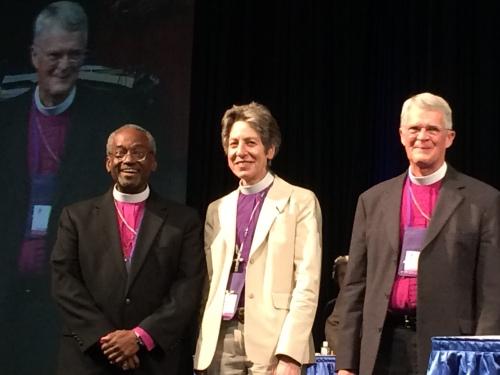 "Massachusetts alternate deputy Billy Boyce got this great shot of this ""jubilation"" of presiding bishops, past, present and future, during yesterday's tribute to Katharine Jefferts Schori."
